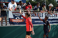 Cary, North Carolina  - Saturday June 03, 2017: Katelyn Rowland, Taylor Smith, and fans after a regular season National Women's Soccer League (NWSL) match between the North Carolina Courage and the FC Kansas City at Sahlen's Stadium at WakeMed Soccer Park. The Courage won the game 2-0.