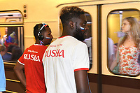 Football fans<br /> 2018 FIFA World Cup Russia. Football fans on the streets of Moscow. From Russia with love! Moscow, Russia - 02 Jul 2018<br /> **Not for sale in Russia or FSU**<br /> CAP/PER/EN<br /> &copy;EN/PER/Capital Pictures