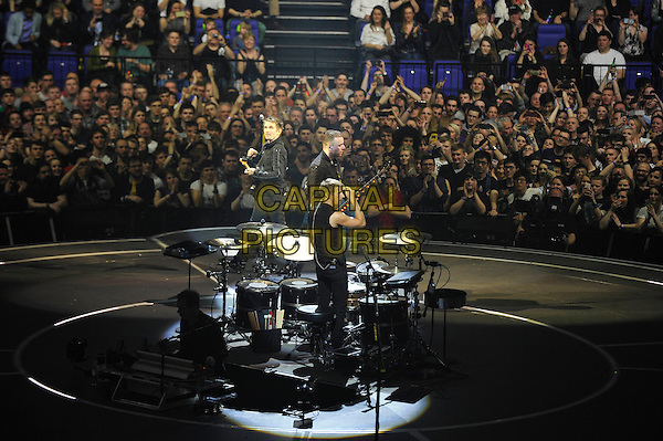 LONDON, ENGLAND - APRIL 3: Matt Bellamy, Dominic Howard and Chris Wolstenholme of 'Muse' performing at the O2 Arena on April 3, 2016 in London, England.<br /> * Press use only. No merchandising *<br /> CAP/MAR<br /> &copy;MAR/Capital Pictures