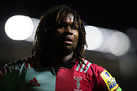 Marland Yarde of Harlequins looks on during a break in play. Aviva Premiership match, between Harlequins and Sale Sharks on October 6, 2017 at the Twickenham Stoop in London, England. Photo by: Patrick Khachfe / JMP