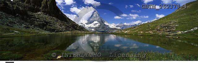 Tom Mackie, LANDSCAPES, panoramic, photos, Matterhorn Reflecting in Riffelsee, Zermatt, Switzerland, GBTM060378-4,#L#