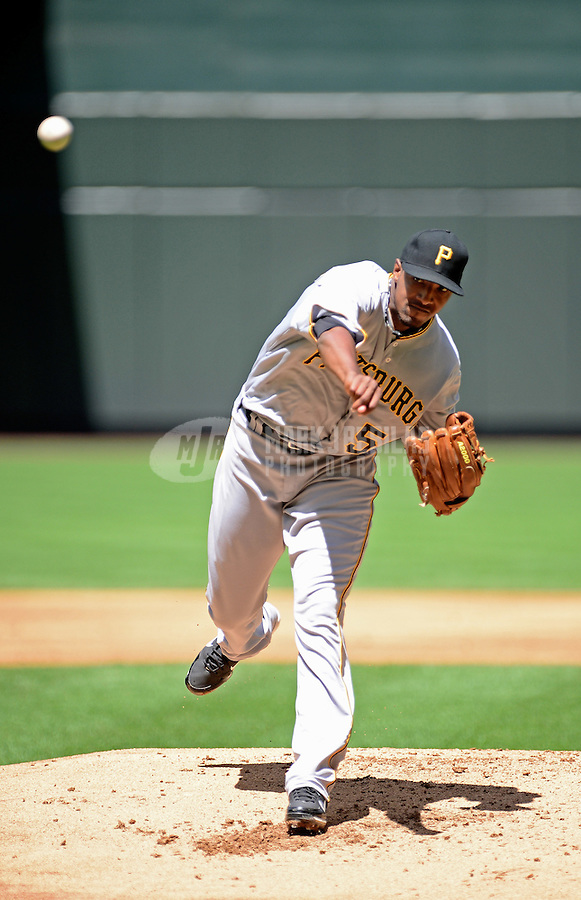 Apr. 18, 2012; Phoenix, AZ, USA; Pittsburgh Pirates pitcher James McDonald throws in the first inning against the Arizona Diamondbacks at Chase Field.  Mandatory Credit: Mark J. Rebilas-
