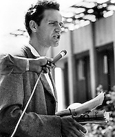Free Speech activist Mario Savio with a KPFA microphone speaking at  rally in Sproul Plaza Univdrsity of California, Berkeley in 1964.(photo by Ron Riesterer)