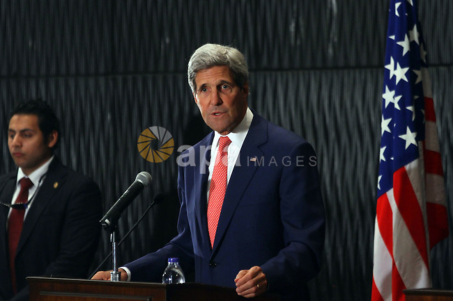 U.S. Secretary of State John Kerry speaks during a joint news conference with Egypt's foreign minister in Cairo September 13, 2014. Kerry is in Cairo as part of a regional tour to build support for President Barack Obama's plan to strike both sides of the Syrian-Iraqi frontier to defeat Islamic State Sunni fighters and build a coalition for a potentially complex military campaign in the heart of the Middle East. Photo by Mohammed Bendari