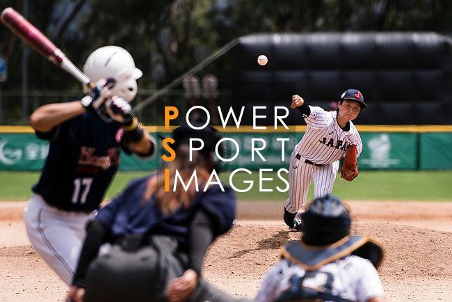 #19 Himeno Mayu of Japan serves during the BFA Women's Baseball Asian Cup match between Japan and Hong Kong at Sai Tso Wan Recreation Ground on September 5, 2017 in Hong Kong. Photo by Marcio Rodrigo Machado / Power Sport Images