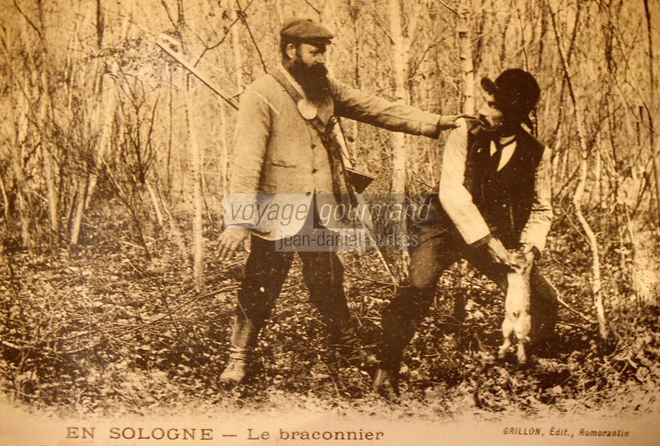 Europe/France/Centre/41/Loir-et-Cher/Sologne/Chaon : Maison du braconnage - Vieille carte postale - Le braconnier