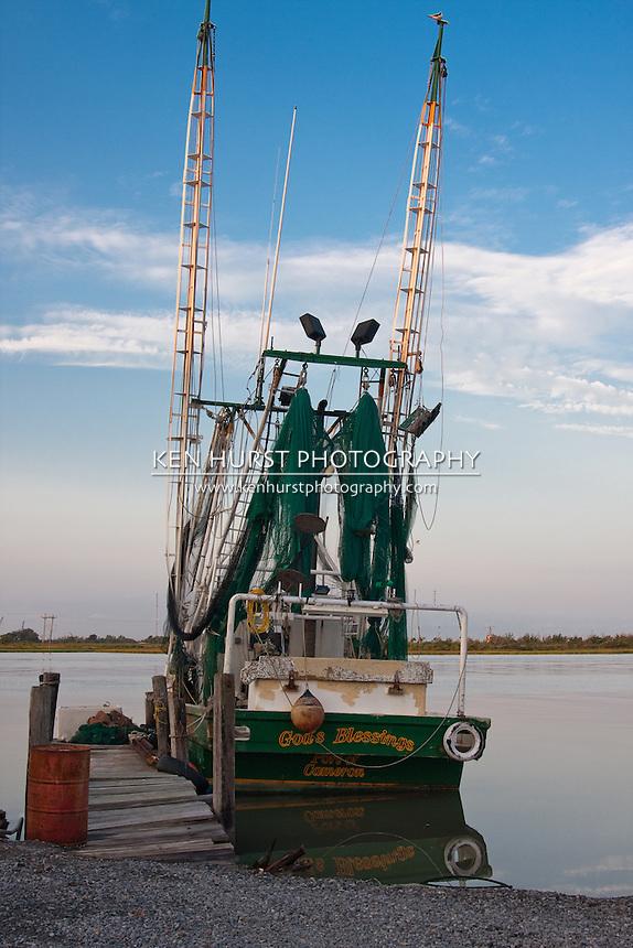 Shrimp boat at dock in Cameron, Louisiana.
