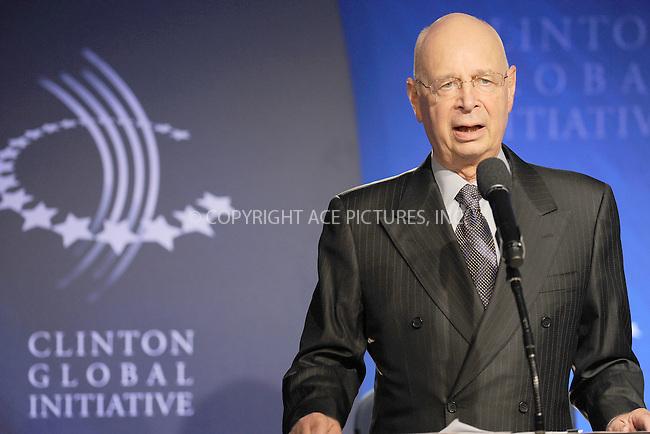 WWW.ACEPIXS.COM . . . . . .September 23, 2010...New York City...Klaus Schwab speaks at the Clinton Global Initiative annual meeting in New York  on September 23, 2010 in New York City....Please byline: KRISTIN CALLAHAN - ACEPIXS.COM.. . . . . . ..Ace Pictures, Inc: ..tel: (212) 243 8787 or (646) 769 0430..e-mail: info@acepixs.com..web: http://www.acepixs.com .