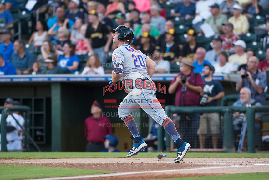 AFL East first baseman Peter Alonso (20), of the Scottsdale Scorpions and the New York Mets organization, hits a home run in the first inning during the Fall Stars game at Surprise Stadium on November 3, 2018 in Surprise, Arizona. The AFL West defeated the AFL East 7-6 . (Zachary Lucy/Four Seam Images)