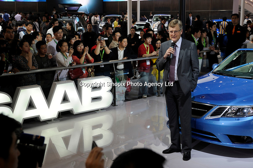 Saab's chief executive officer Jan Ake Jonsson speaks to a crowd during a news conference at the Beijing Auto Show. The car show has attracted all the world's major auto markers. China's vehicle sales have breached the 10-million barrier for the first time ever, with 10.9 million automobiles sold last year. .24 Apr 2010