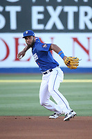Amed Rosario (1) of the Las Vegas 51s makes a throw during a game against the Sacramento River Cats at Cashman Field on June 15, 2017 in Las Vegas, Nevada. Las Vegas defeated Sacramento, 12-4. (Larry Goren/Four Seam Images)