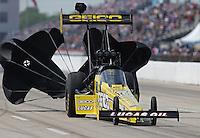 Apr. 28, 2013; Baytown, TX, USA: NHRA top fuel dragster driver Morgan Lucas during the Spring Nationals at Royal Purple Raceway. Mandatory Credit: Mark J. Rebilas-