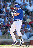 Chicago Cubs Phil Nevin avoids a pitch during a game against the New York Mets at Wrigley Field on July 15, 2006 in Chicago, Illinois.  (Mike Janes/Four Seam Images)