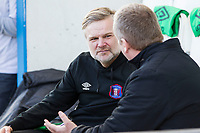 Steven Pressley Manager of Carlisle United in conversation prior to warm up during Colchester United vs Carlisle United, Sky Bet EFL League 2 Football at the JobServe Community Stadium on 23rd February 2019