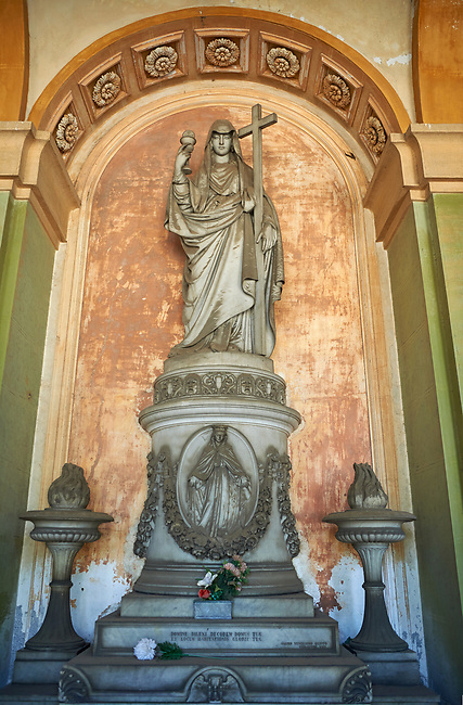 Pictures of the classical stone sculptured monumental tombs of the Staglieno Monumental Cemetery, Genoa, Italy