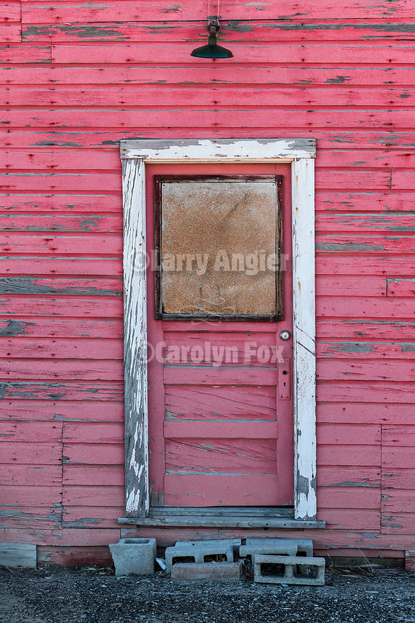 Red door, town of Hazen in the Lahoten Valley along the old Lincoln Highway, Nevada