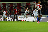 GOAL - EzgjanAlioski of Leeds United celebrates his goal during the Sky Bet Championship match between Brentford and Leeds United at Griffin Park, London, England on 4 November 2017. Photo by Carlton Myrie.