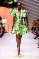 MELBOURNE - September 5, 2019: A model wearing Jason Grech walks at the Town Hall Runway 7 show during Melbourne Fashion Week in Melbourne, Australia. Photo Sydney Low