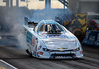 Oct 5, 2018; Ennis, TX, USA; NHRA funny car driver Robert Hight during qualifying for the Fall Nationals at the Texas Motorplex. Mandatory Credit: Mark J. Rebilas-USA TODAY Sports
