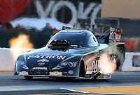 Jul. 26, 2013; Sonoma, CA, USA: NHRA funny car driver Alexis DeJoria during qualifying for the Sonoma Nationals at Sonoma Raceway. Mandatory Credit: Mark J. Rebilas-