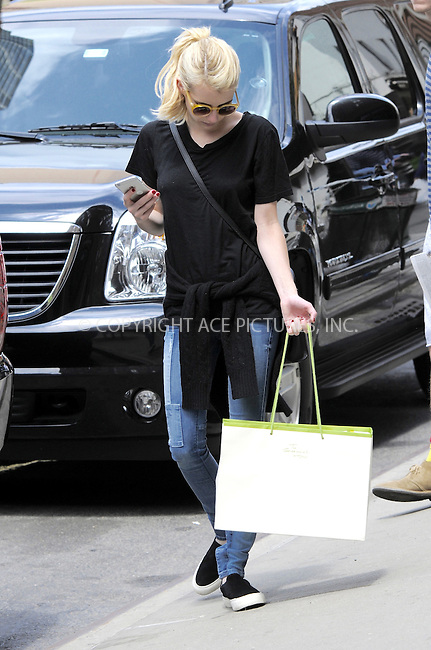 WWW.ACEPIXS.COM<br /> <br /> May 5 2015, New York City<br /> <br /> Actress Emma Roberts walks in Tribeca on May 5 2015 in New York City<br /> <br /> By Line: Curtis Means/ACE Pictures<br /> <br /> <br /> ACE Pictures, Inc.<br /> tel: 646 769 0430<br /> Email: info@acepixs.com<br /> www.acepixs.com