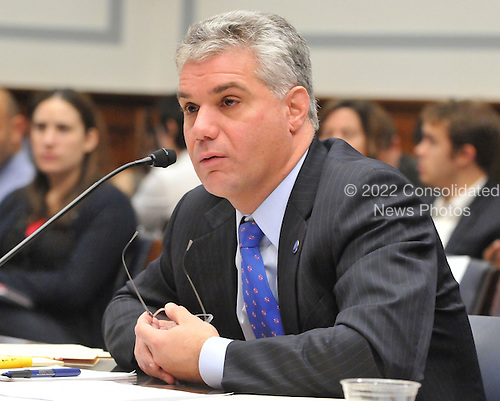 "Washington, D.C. - October 7, 2008 -- Eric R. Dinallo, Superintendent, New York State Insurance Department, testifies before the United States House Committee on Oversight and Government Reform hearing on ""The Causes and Effects of the AIG Bailout"" in the Rayburn House Office Building on Tuesday, October 7, 2008..Credit: Ron Sachs / CNP.(RESTRICTION: NO New York or New Jersey Newspapers or newspapers within a 75 mile radius of New York City)"