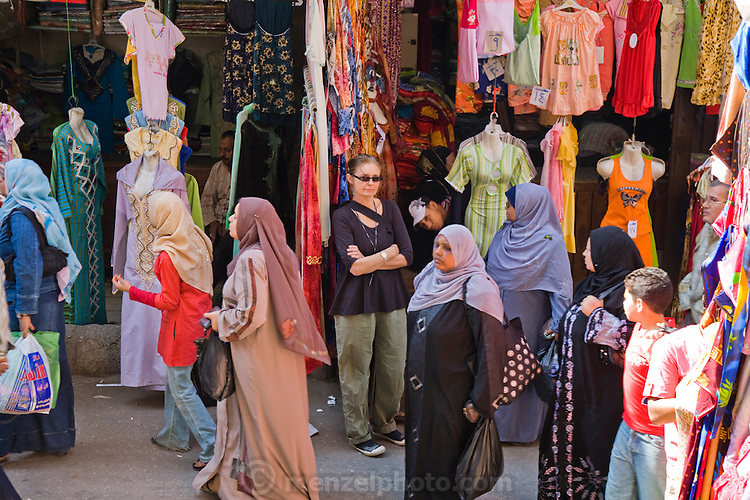 Faith D'Aluisio, one of the authors of the book What I Eat: Around the World in 80 Diets, at Khan al-Khalili souq (market) in Cairo, Egypt.