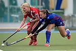 GER - Mannheim, Germany, April 22: During the German Hockey Bundesliga women match between Mannheimer HC (blue) and Club an der Alster (red) on April 22, 2017 at Am Neckarkanal in Mannheim, Germany. Final score 1-1 (HT 1-0).  Charlotte Gerstenhoefer #28 of Mannheimer HC<br /> <br /> Foto &copy; PIX-Sportfotos *** Foto ist honorarpflichtig! *** Auf Anfrage in hoeherer Qualitaet/Aufloesung. Belegexemplar erbeten. Veroeffentlichung ausschliesslich fuer journalistisch-publizistische Zwecke. For editorial use only.
