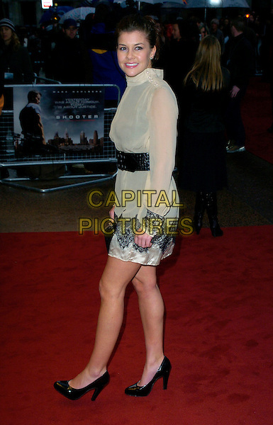 "IMOGEN THOMAS.Attending the UK Premiere of ""Shooter"",.Odeon West End,London, England,.March 29th 2007..full length cream top tunic dress black waist belt trim sk shoes lace sheer Big Brother.CAP/CAN.©Can Nguyen/Capital Pictures"