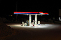 Fuel station at night, Yllas, Lapland, Finland...Copyright John Eveson 01995 61280.j.r.eveson@btinternet.com