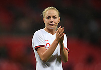9th November 2019; Wembley Stadium, London, England; International Womens Football Friendly, England women versus Germany women; a dejected Alex Greenwood of England after losing to Germany, applauds England fans - Editorial Use