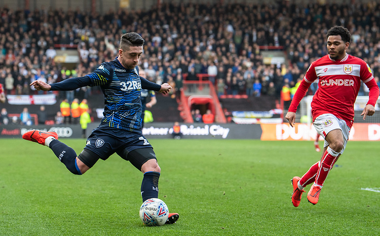Leeds United's Pablo Hernandez (left) under pressure from Bristol City's Jay Dasilva<br /> <br /> Photographer David Horton/CameraSport<br /> <br /> The EFL Sky Bet Championship - Bristol City v Leeds United - Saturday 9th March 2019 - Ashton Gate Stadium - Bristol<br /> <br /> World Copyright © 2019 CameraSport. All rights reserved. 43 Linden Ave. Countesthorpe. Leicester. England. LE8 5PG - Tel: +44 (0) 116 277 4147 - admin@camerasport.com - www.camerasport.com