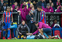 Gabriel Jesus of Manchester City lays injured during the Premier League match between Crystal Palace and Manchester City at Selhurst Park, London, England on 31 December 2017. Photo by Andy Rowland.