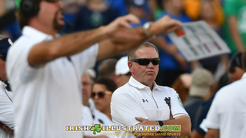 Head coach Brian Kelly reacts late in the second quarter.