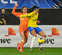 20200304 Valenciennes , France : Dutch Danielle van de Donk (10) and Brazilian Antonia (3)  pictured during the female football game between the national teams of The Netherlands and Brasil on the first matchday of the Tournoi de France 2020 , a prestigious friendly womensoccer tournament in Northern France , on wednesday 4 th March 2020 in the Stade du Hainaut of Valenciennes , France . PHOTO SPORTPIX.BE | DIRK VUYLSTEKE