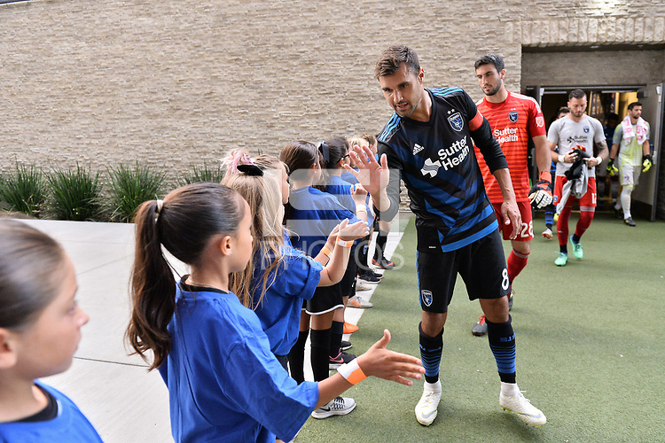 San Jose, CA - Wednesday August 29, 2018: Chris Wondolowski, fans prior to a Major League Soccer (MLS) match between the San Jose Earthquakes and FC Dallas at Avaya Stadium.