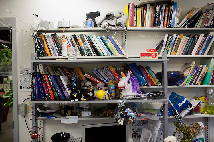 A view of bookshelves in the Center for Civic Media at MIT's Media Lab in Cambridge, Massachusetts, USA.
