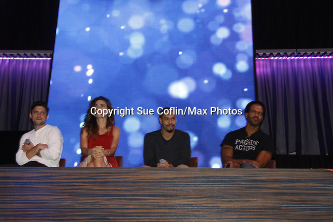 Joyce Becker's Soap Opera Festival brings actors from Young and Restless - Robert Adamson - Amelia Heinle - Bryton James - Kristoff St. John on stage on September 26, 2015 to Caesers Horseshoe Casino in Baltimore, Maryland for a Q&A with fans with a drawing for lucky fans to meet the actors for autographs and photos.  (Photo by Sue Coflin/Max Photos)