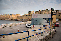 Malta, 28 December 2014<br /> <br /> Along the West shore of the old city of Valetta. European Union Fund financed project in St Elmo Bay.<br /> <br /> Photo Kees Metselaar