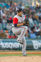 Gwinnett Braves starting pitcher Daniel Rodriguez (34) in action against the Charlotte Knights at BB&T Ballpark on April 16, 2014 in Charlotte, North Carolina.  The Braves defeated the Knights 7-2.  (Brian Westerholt/Four Seam Images)