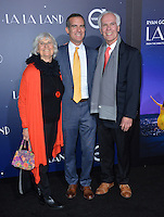 Los Angeles Mayor Eric Garcetti &amp; father Gil Garcetti &amp; mother Sukey Garcetti at the Los Angeles premiere for &quot;La La Land&quot; at the regency Village Theatre, Westwood. <br /> December 6, 2016<br /> Picture: Paul Smith/Featureflash/SilverHub 0208 004 5359/ 07711 972644 Editors@silverhubmedia.com