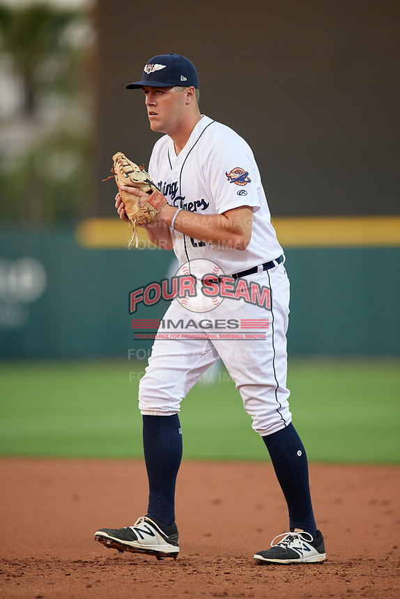 Lakeland Flying Tigers first baseman Blaise Salter (21) during a game against the Tampa Tarpons on April 5, 2018 at Publix Field at Joker Marchant Stadium in Lakeland, Florida.  Tampa defeated Lakeland 4-2.  (Mike Janes/Four Seam Images)
