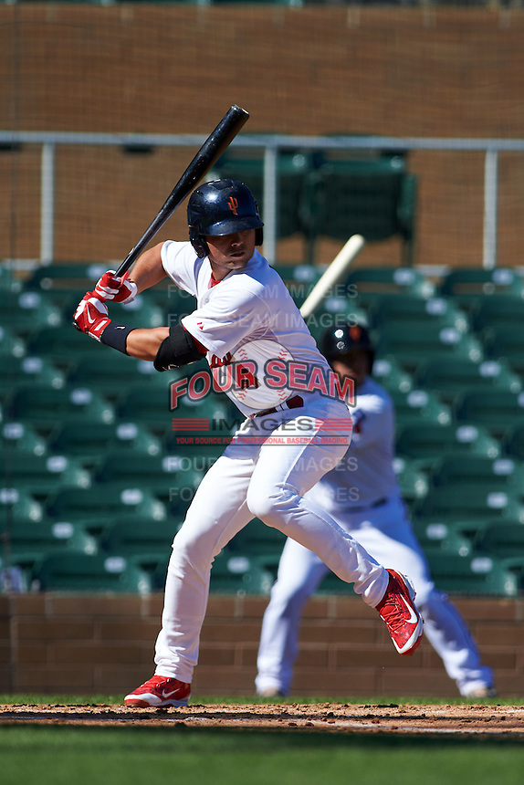 Surprise Saguaros shortstop Aledmys Diaz (4) at bat during an Arizona Fall League game against the Glendale Desert Dogs on October 23, 2015 at Salt River Fields at Talking Stick in Scottsdale, Arizona.  Glendale defeated Surprise 9-6.  (Mike Janes/Four Seam Images)