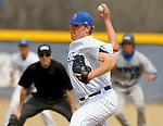 BROOKINGS, SD - APRIL 1:  Chad Hodges from South Dakota State delivers a pitch against Dakota Wesleyan during their home opener Wednesday afternoon in Brookings. (Photo by Dave Eggen/Inertia)