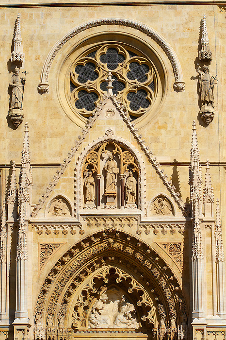 The Neo Gothic statues of the Cathedral of the Assumption of the Blessed Virgin Mary, Zagreb, Croatia