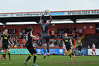 David Forde of Cambridge United catches a cross during Stevenage vs Cambridge United, Sky Bet EFL League 2 Football at the Lamex Stadium on 14th April 2018
