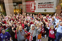Dallas, TX - Friday March 31, 2017: Fans prior to the NCAA National Semifinal Game between the women's basketball teams of Stanford and South Carolina at the American Airlines Center.