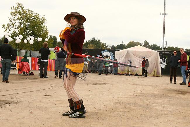 Louisville native Jenna Watkins hula hoops around the Boomslang Festival at Buster's Saturday, October 10.