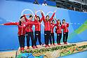 (L-R) Satomi Suzuki, Rie Kaneto, Misaki Yamaguchi, Yayoi Matsumoto, Miho Takhashi, Sakiko Shimizu, Natsumi Hoshi (JPN), <br /> AUGUST 13, 2016 - Swimming : <br /> the Rio 2016 Olympic Games at Olympic Aquatics Stadium in Rio de Janeiro, Brazil. <br /> (Photo by Yohei Osada/AFLO SPORT)