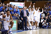 DUKE, NC - FEBRUARY 15: Head coach Mike Krzyzewski of Duke University during a game between Notre Dame and Duke at Cameron Indoor Stadium on February 15, 2020 in Duke, North Carolina.